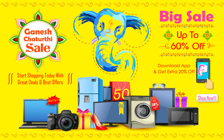 idols: illustration of Happy Ganesh Chaturthi sale offer Illustration