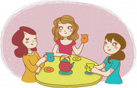 three women drinking tea Stock Vector - 11838450