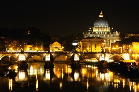 vatican city: view of panorama night Vatican City in Rome, Italy Stock Photo