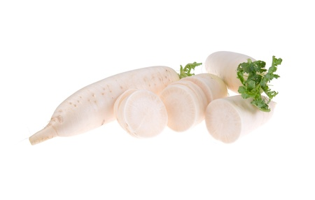 Daikon radishes isolated on white background Stock Photo - 17743792