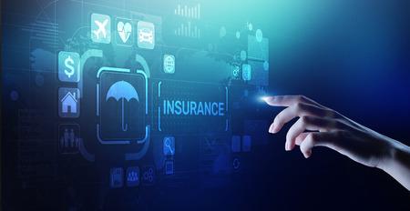 Insurance, health family car money travel Insurtech concept on virtual screen. Foto de archivo