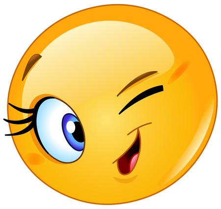 wink: Female emoticon winking Illustration