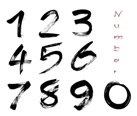 Numbers 0-9 written with a brush on a white background Stock Vector - 15608490