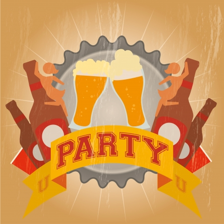 party labels over vintage background vector illustration  Stock Photo - 20500750