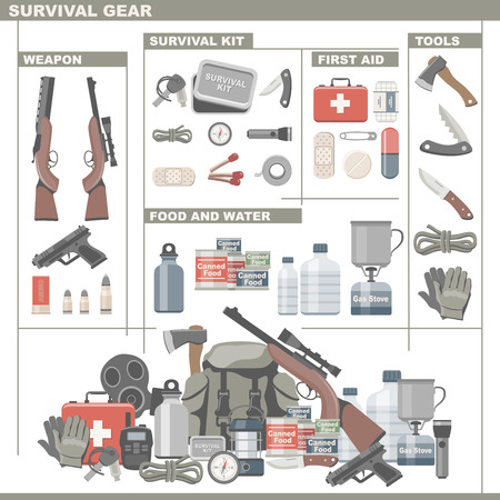 survival equipment: Survival Gear Illustration