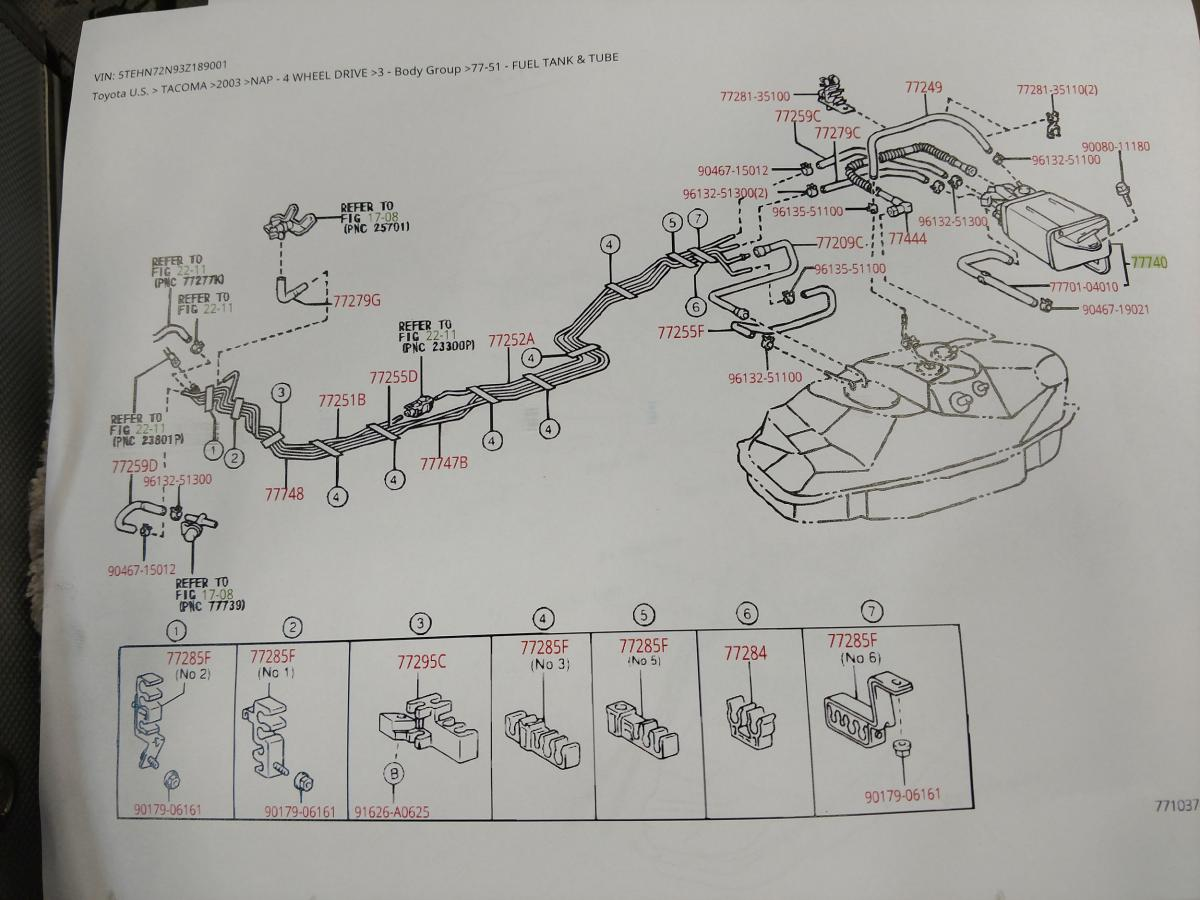 i contacted toyota parts and asked them to send me a parts diagram the parts diagram confirmed the steel line routing and what our vehicle looked to be  [ 1200 x 900 Pixel ]