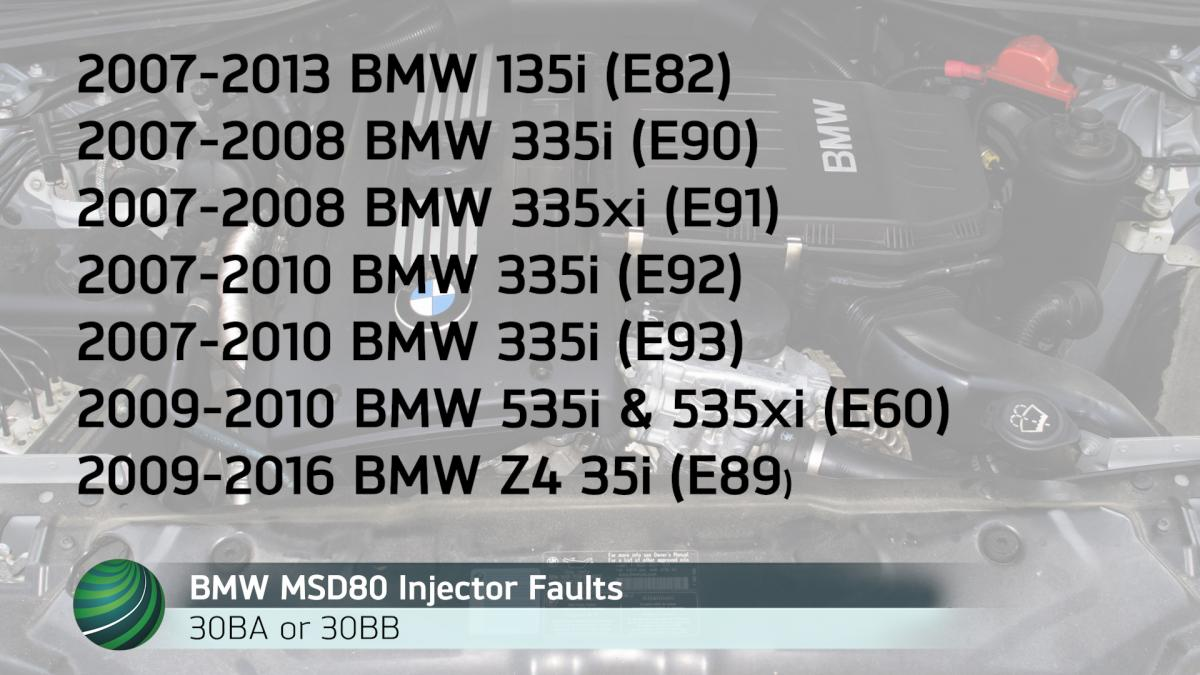 medium resolution of bmw models with msd80 dme software may set the fault codes 30ba or 30bb these fault codes set when fuel injectors on bank 1 or bank 2 develop circuit