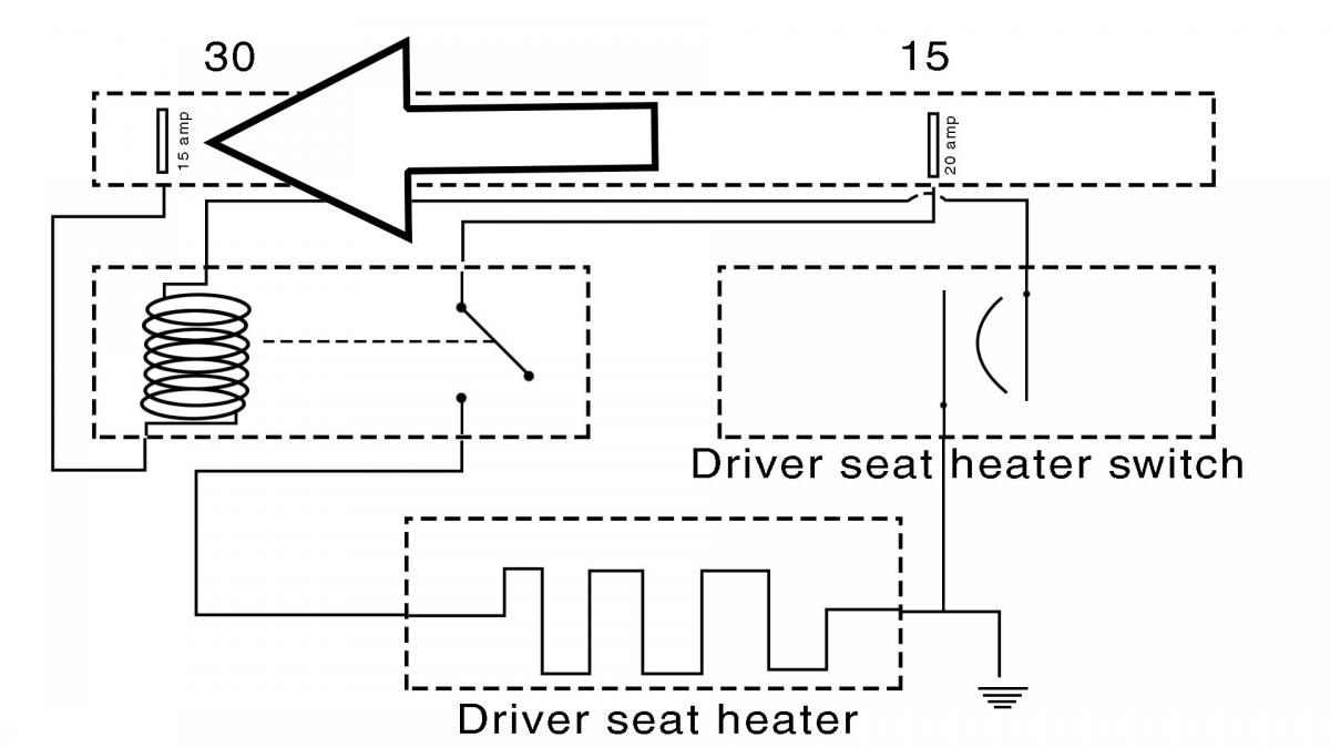 next use a wiring diagram to identify the component causing the draw in our subject vehicle the seat heater relay was causing the draw  [ 1200 x 675 Pixel ]