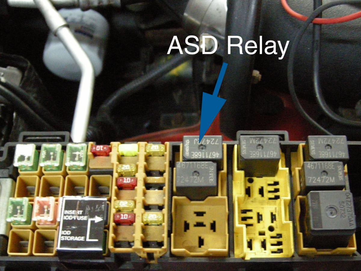 hight resolution of with the key in run position the asd relay would buzz and there was no mil light the missing mil light indicated a fault with the pcm as did the buzzing
