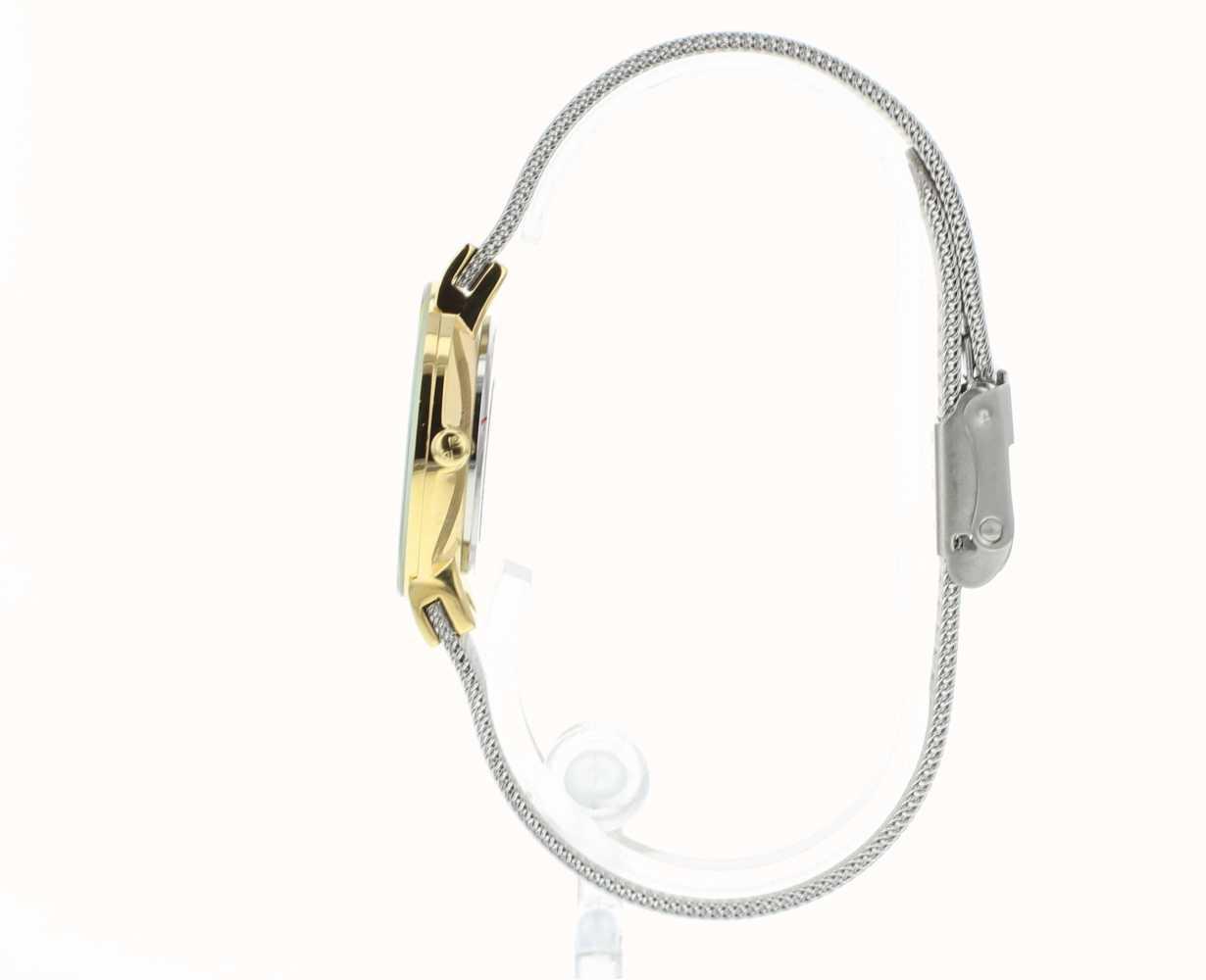 Skagen Womens Gold Tone Case Silver Mesh Bracelet Watch