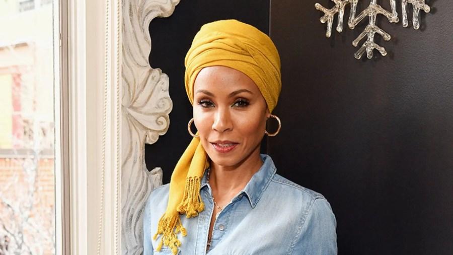 Jada Pinkett Smith with yellow hair wrap
