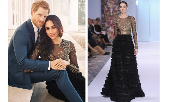 For her engagement photo session in December, Meghan went for this 'haute' look – a Fall 2016 gown by Ralph & Russo, which has an estimated price tag of around $75,000! The dramatic dress, seen on the Paris haute couture catwalk, right, features a sheer bodice with bronze appliqué and a black tiered A-line skirt. Photos: Alexi Lubomirski, Getty Images
