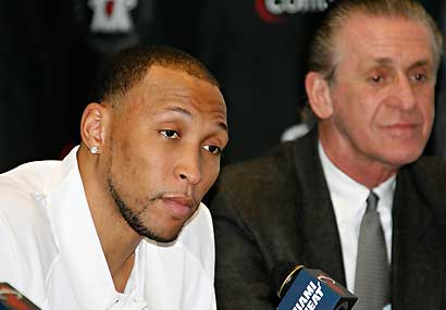 Shawn Marion with Heat coach Pat Riley.