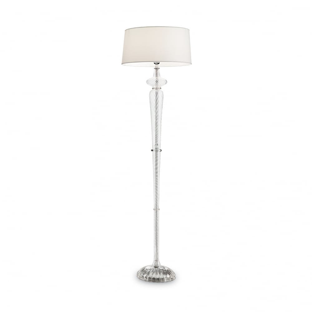 Ideal Lux Id142616 Forcola Glass Floor Standing Lamp With White Drum Shade Ideas4lighting
