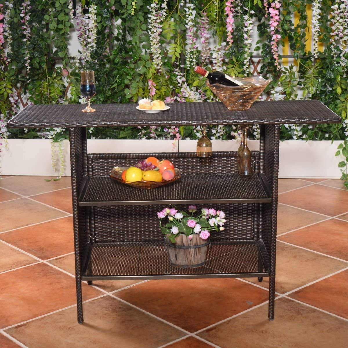 rattan bar counter outdoor patio rattan wicker bar counter table with 2 storage shelves 2 sets of rails condole cup holders for back yard poolside