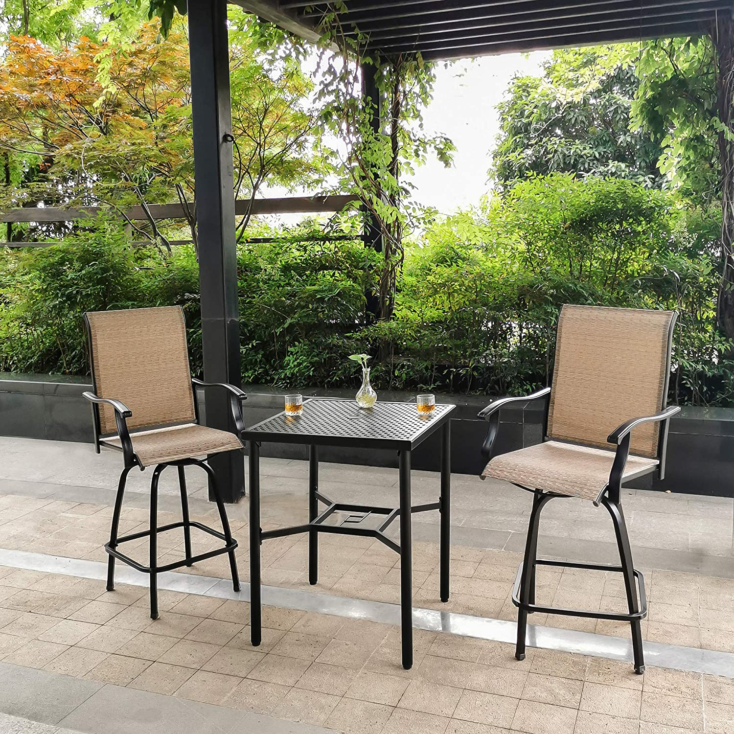outdoor bistro set 3 piece patio bar table and swivel bar stools