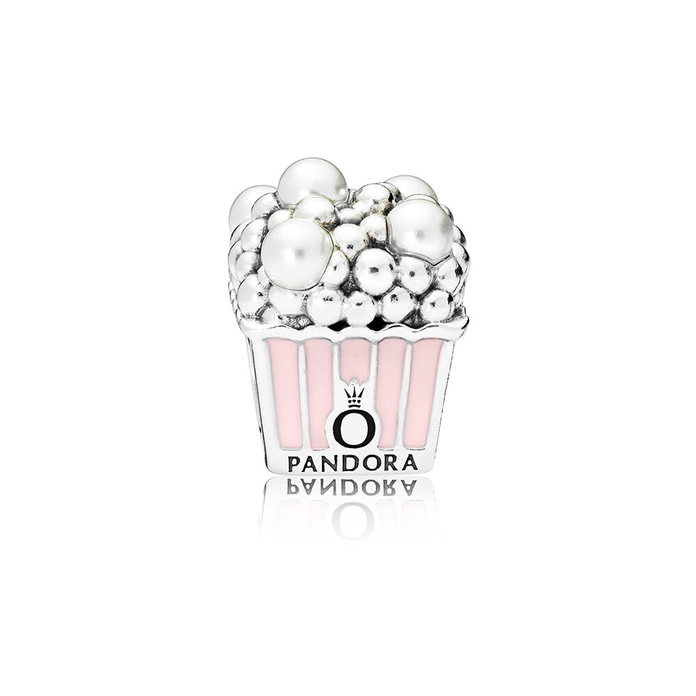 Delicious Popcorn Charm Pale Pink Enamel & White Crystal