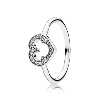 Disney, Mickey Silhouette Ring, Clear CZ