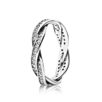 Twist Of Fate Stackable Ring, Clear CZ | PANDORA Jewelry US
