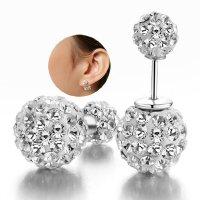 Fashion Womens Silver Double Crystal Ball Ear Stud