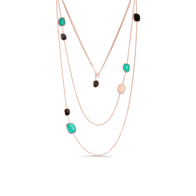 Station Necklace with Black Jade, Agate and Diamonds