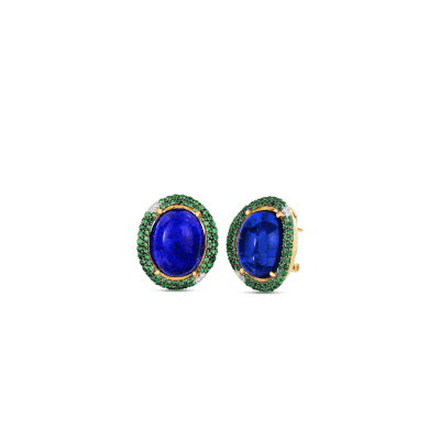 Art Deco Earrings with Lapis and Tsavorite