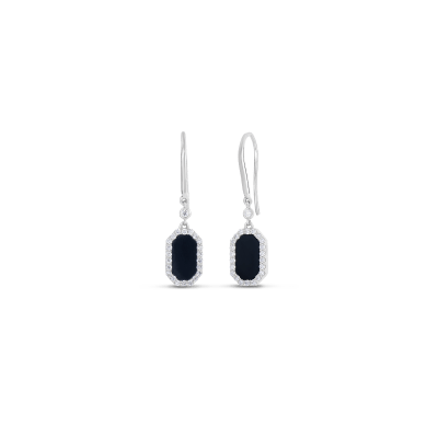 Roberto Coin Tiny Treasures 18k White Gold Art Deco Drop Earrings With Diamonds And Black Jade
