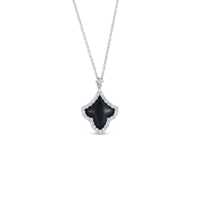 Roberto Coin Tiny Treasures 18k White Gold Art Deco Pendant With Diamonds And Black Jade