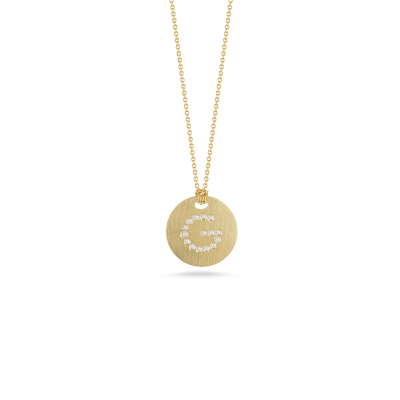 tiny treasuresdisc pendant with diamond initial g