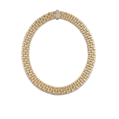 Roberto Coin Appassionata 18K Yellow Gold and 18K White Gold 3 Row Necklace with Diamond Clasp