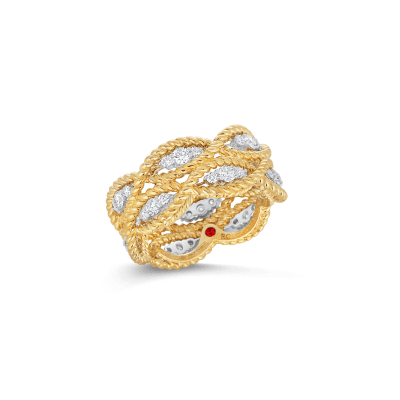 Product 2 Row Ring With Diamonds 18k Yellow Gold, 6.5