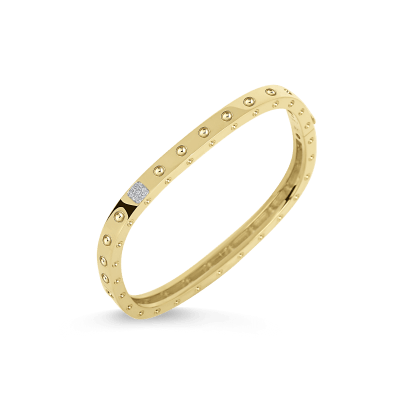 Product 18KT GOLD 1 ROW SQUARE BANGLE WITH DIAMONDS