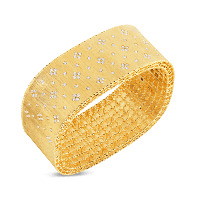 Satin Finish Wide Bangle with Fleur de Lis Diamonds