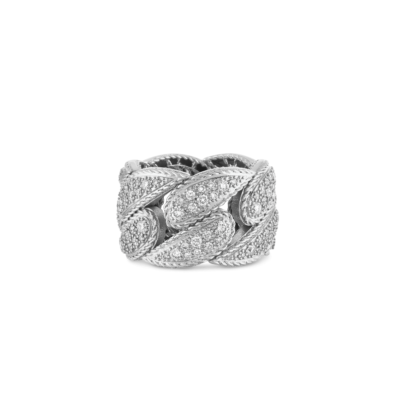 Roberto-Coin-18k-white-gold-Gourmentte Link Ring with Diamonds-8882218AW65X0