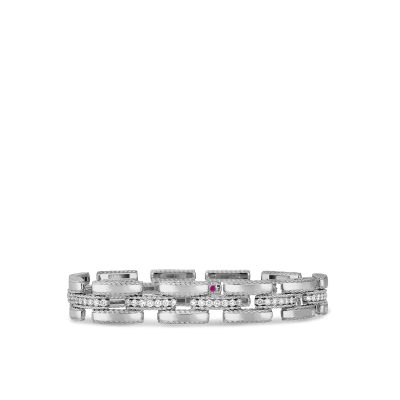 Retro Link Bracelet with Diamonds
