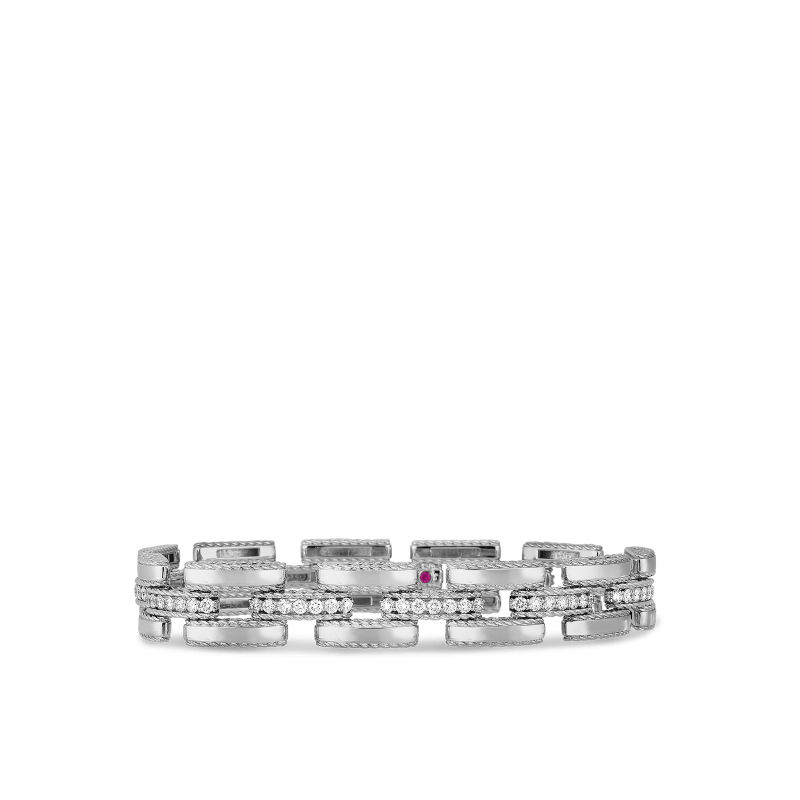 Roberto-Coin-18k-white-gold-Slim Retro Link Bracelet with Diamonds-7771395AWLBX