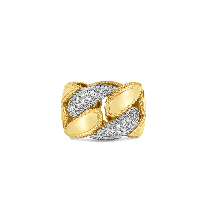 Roberto-Coin-18k-yellow-gold-18k-white-gold-Gourmentte Link Ring with Diamonds-8882219AJ65X0