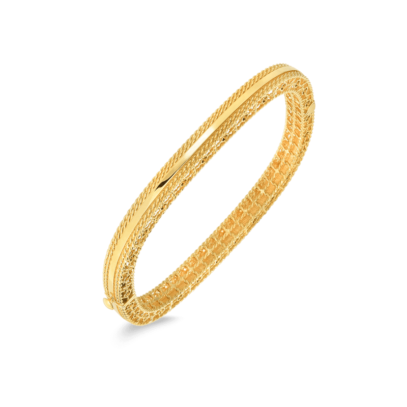 Roberto-Coin-18k-yellow-gold-Slim-Bangle-with-Braided-Edges-7771475AYBA00