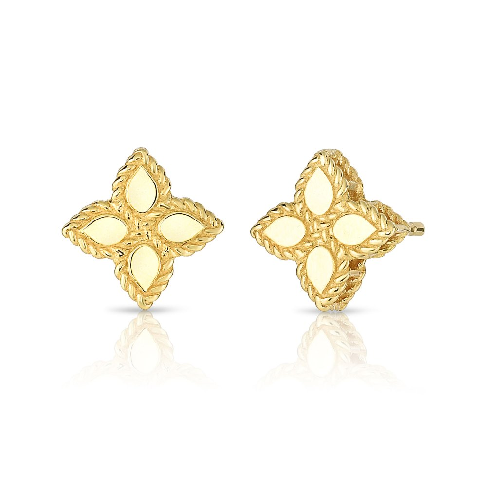 18 kt gold PRINCESS FLOWER SMALL STUD EARRINGS