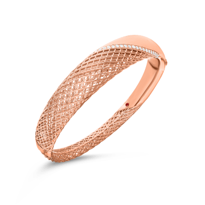 Product 18kt gold hinged bangle with diamonds 2