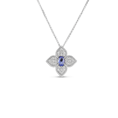 Product 18k diamond & tanzanite flower pendant