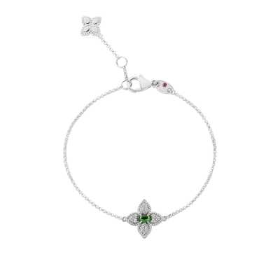 18K DIAMOND & TSAVORITE SINGLE FLOWER BRACELET