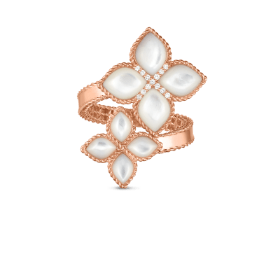18kt mother-of-pearl & diamond bypass ring