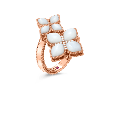 Product 18kt mother-of-pearl & diamond bypass ring