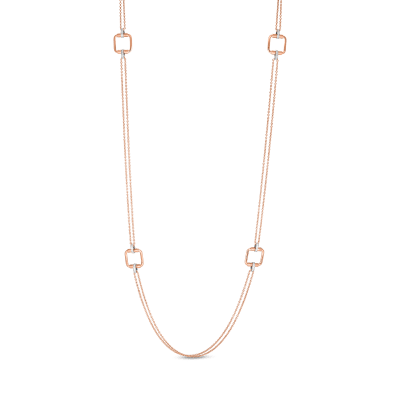 Product 18k long chain with square elements & diamond accent
