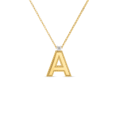 Product 18kt gold princess A letter pendant with diamonds (large)