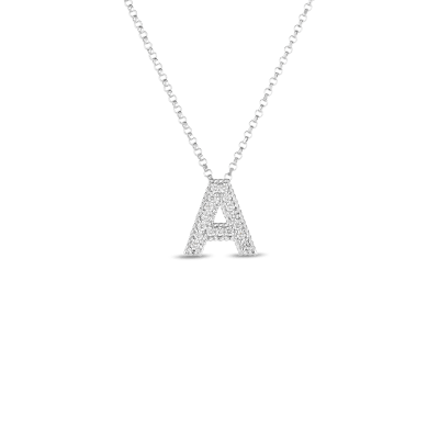 Product 18k Gold & Diamond Princess Initial 'A' Pendant On Chain