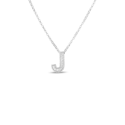 Product 18k Gold & Diamond Princess Initial 'J' Pendant On Chain