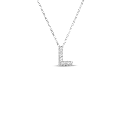 Product 18k Gold & Diamond Princess Initial 'L' Pendant On Chain