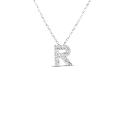 Product 18k Gold & Diamond Princess Initial 'R' Pendant On Chain